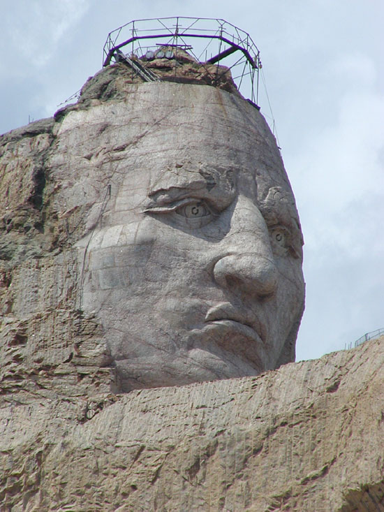 Natural Rock Faces : Ancient indian head natural or manmade seen from space