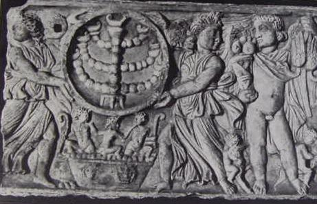 4th 5th Century AD Showing Two Winged Victories Holding A Ring In Which Lies Jewish Candelabra Called Menorah