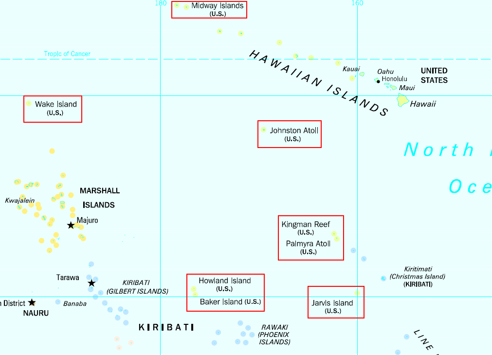 Map Showing The Location Of The Islands In The Pacific Ocean Highlighted With Red Boxes