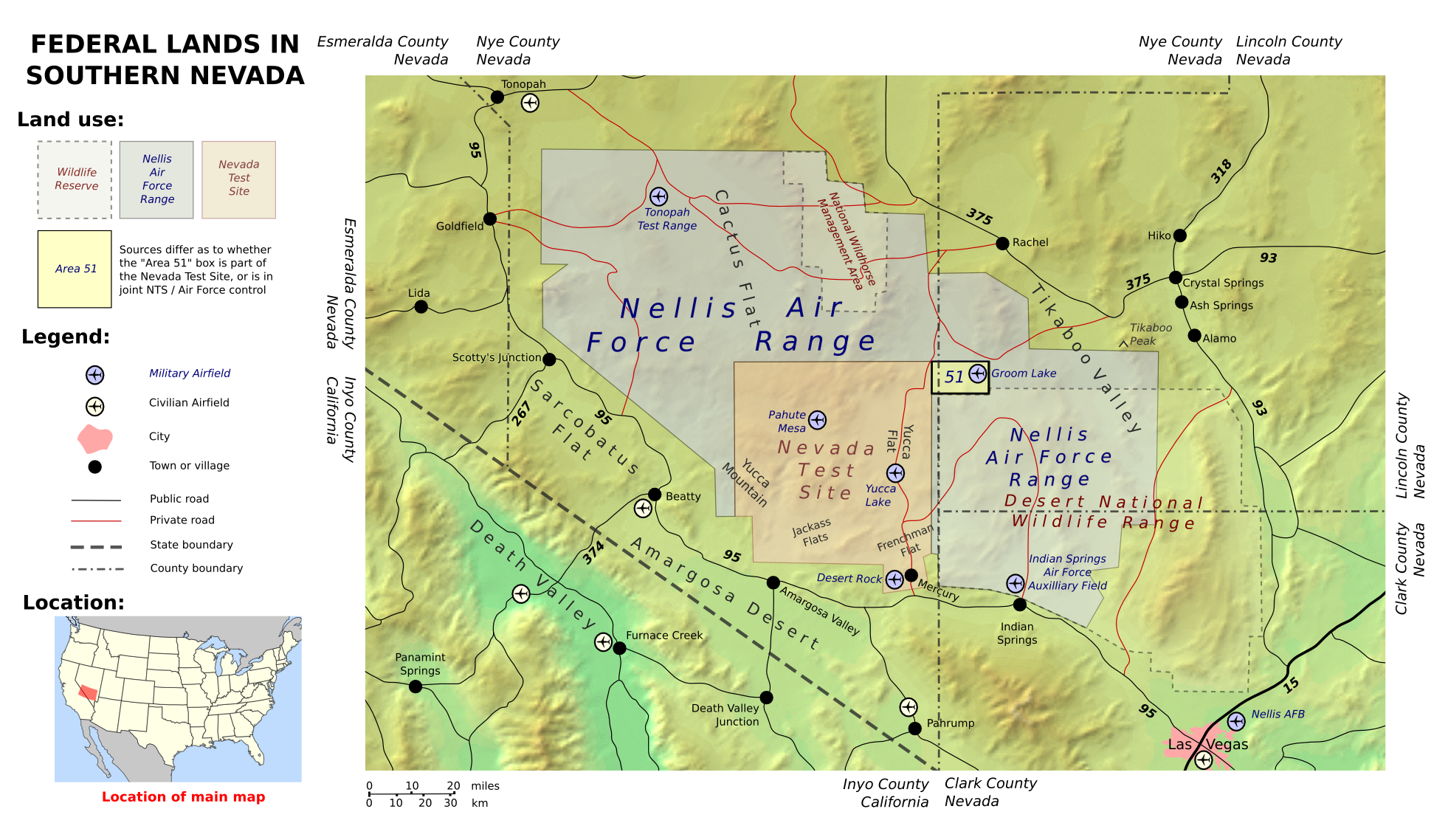 Area Groom Lake Facility Nevada USA - Usa lake map