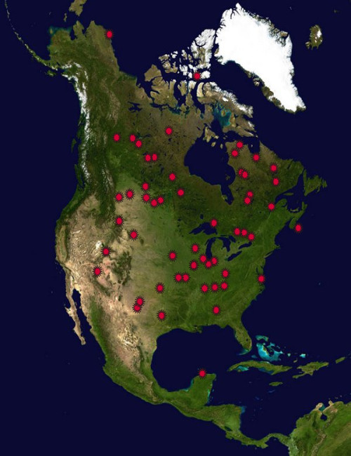 Impact Craters on Earth - North America Part One on map of meteor craters in usa, impact crater map usa, meteorite impact sites in usa, lightning strike map usa,